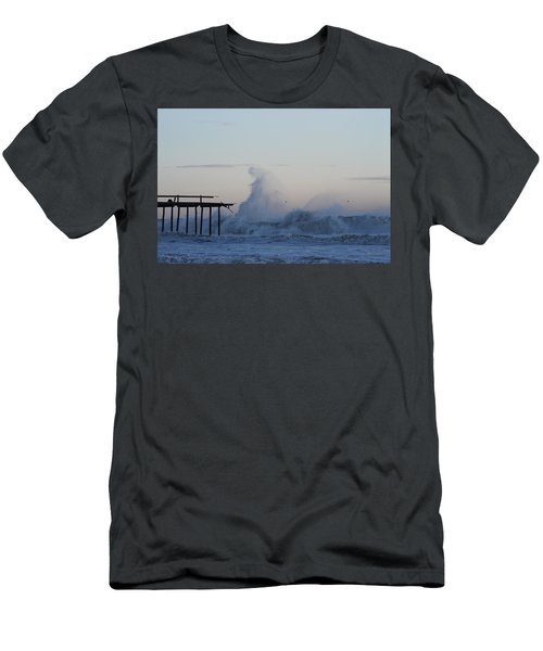 Wave Towers Over Oc Fishing Pier Men's T-Shirt (Athletic Fit)