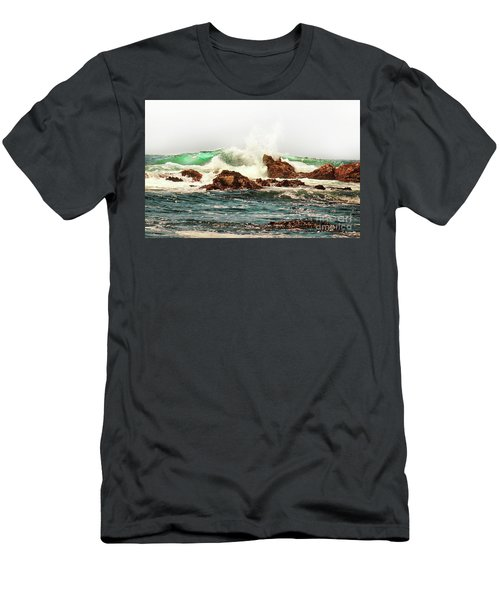 Waves Against The Rocks In Pacific Grove California Men's T-Shirt (Athletic Fit)