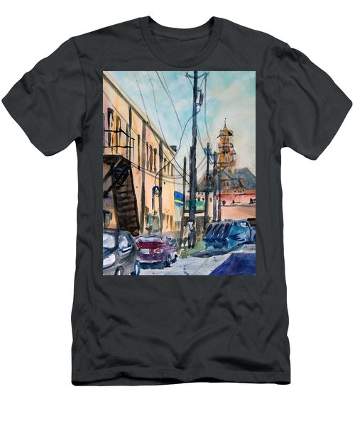 Men's T-Shirt (Slim Fit) featuring the painting Waxahachie Back Alley by Ron Stephens