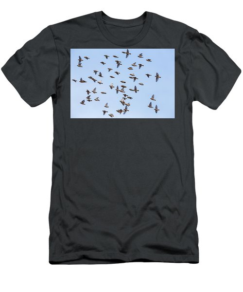 Men's T-Shirt (Slim Fit) featuring the photograph Waxwings by Mircea Costina Photography