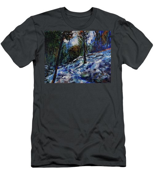 Men's T-Shirt (Athletic Fit) featuring the painting Way Of The Mono Trail by Walter Fahmy