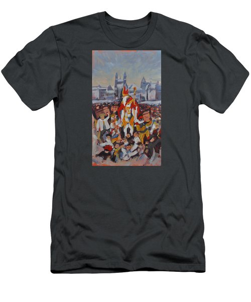 Men's T-Shirt (Slim Fit) featuring the painting Welcoming Saint Nicolas In Maastricht by Nop Briex