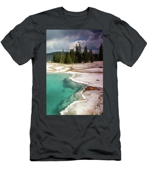 West Thumb Geyser Pool Men's T-Shirt (Slim Fit) by Dawn Romine