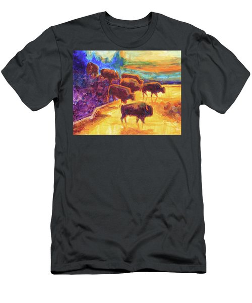 Western Buffalo Art Bison Creek Sunset Reflections Painting T Bertram Poole Men's T-Shirt (Athletic Fit)