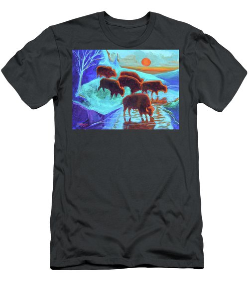 Western Buffalo Art Six Bison At Sunset Turquoise Painting Bertram Poole Men's T-Shirt (Athletic Fit)