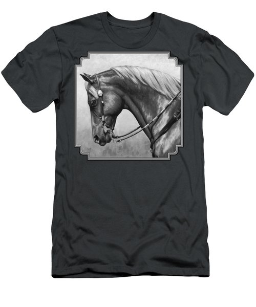 Western Horse Black And White Men's T-Shirt (Athletic Fit)