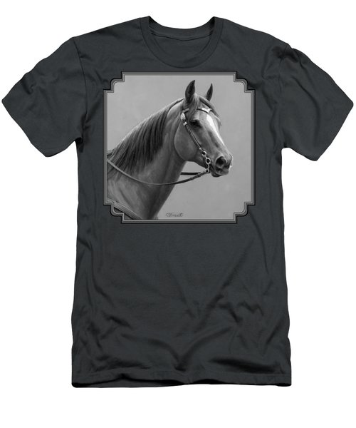 Western Quarter Horse Black And White Men's T-Shirt (Slim Fit) by Crista Forest