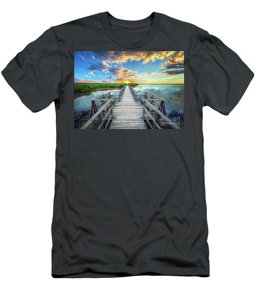 Wetland Marsh Sunrise Treasure Coast Florida Boardwalk A1 Men's T-Shirt (Athletic Fit)