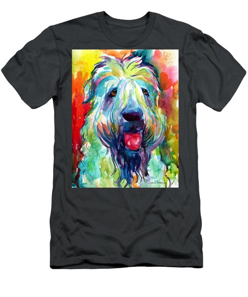 Wheaten Terrier Dog Portrait Men's T-Shirt (Slim Fit) by Svetlana Novikova