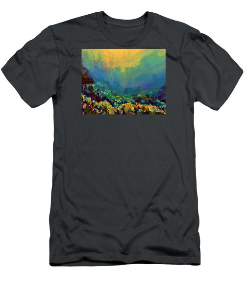 Men's T-Shirt (Slim Fit) featuring the painting When The Sun Is Looking Into The Sea by AmaS Art