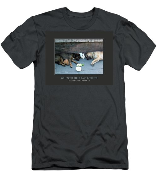 When We Help Each Other Men's T-Shirt (Slim Fit) by Donna Corless