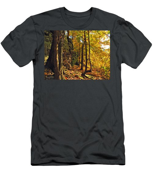 Men's T-Shirt (Slim Fit) featuring the photograph Whipp's Ledges In Autumn by Joan  Minchak