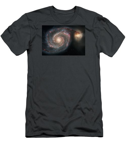 Whirlpool Galaxy And Companion  Men's T-Shirt (Slim Fit) by Hubble Space Telescope