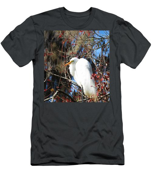 White Egret Bird Men's T-Shirt (Athletic Fit)
