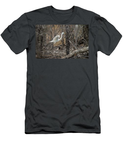 Men's T-Shirt (Slim Fit) featuring the photograph White Egret by David Bearden