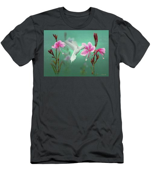 White Hummingbird And Pink Guara Men's T-Shirt (Athletic Fit)