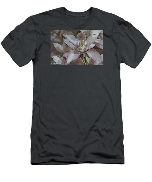 Men's T-Shirt (Slim Fit) featuring the photograph White Orchid Flower by Gary Crockett