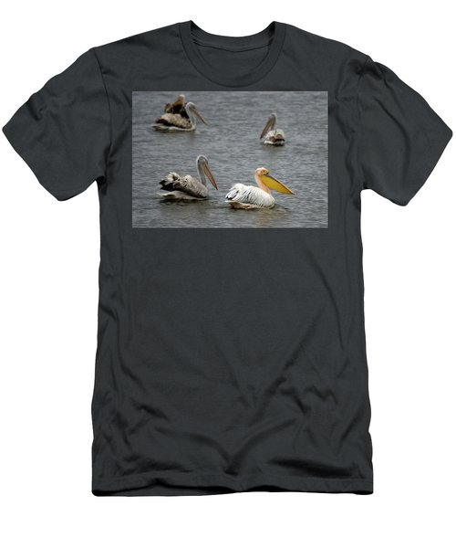 White Pelicans On Lake  Men's T-Shirt (Athletic Fit)