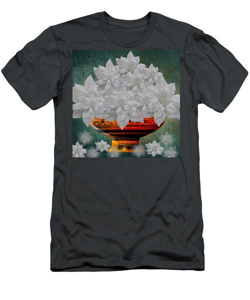 White Poinsettias In A Bowl Men's T-Shirt (Slim Fit) by Saundra Myles