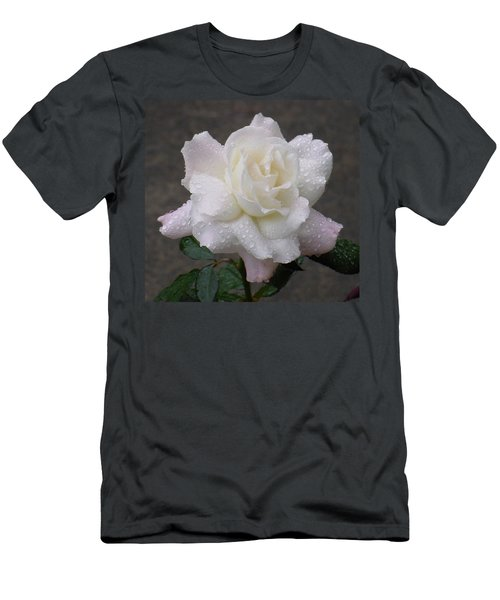 White Rose In Rain - 3 Men's T-Shirt (Athletic Fit)
