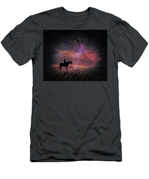 White Sands Horse And Rider #4c Men's T-Shirt (Athletic Fit)