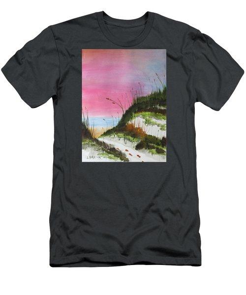 White Sandy Beach Men's T-Shirt (Slim Fit) by Jack G Brauer