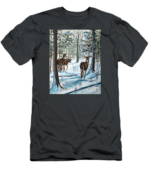 White Tail Deer In Winter Men's T-Shirt (Slim Fit) by Patricia L Davidson