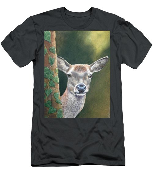 Men's T-Shirt (Slim Fit) featuring the painting White Tail Doe At Ancon Hill by Ceci Watson