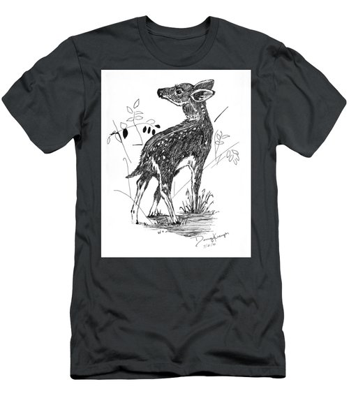 White-tail Fawn -pen And Ink Men's T-Shirt (Athletic Fit)