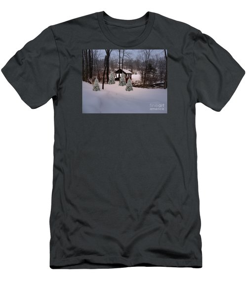 White Tailed Buck At Belmont N H Covered Bridge Men's T-Shirt (Slim Fit) by Mim White