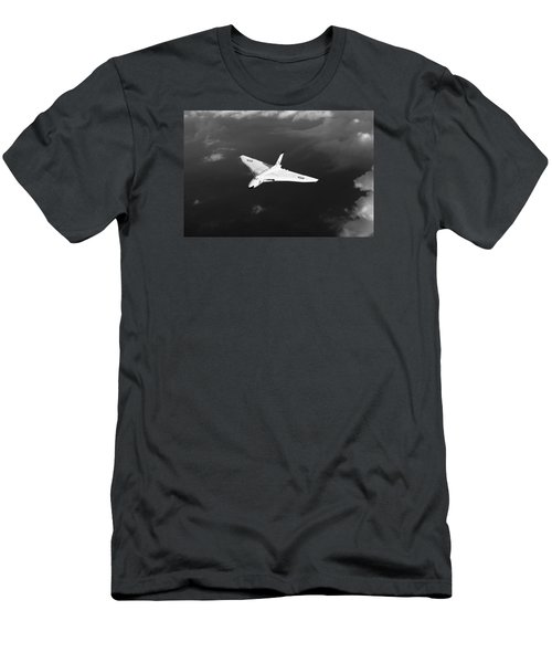Men's T-Shirt (Slim Fit) featuring the digital art White Vulcan B1 At Altitude Black And White Version by Gary Eason