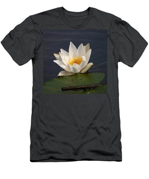 Men's T-Shirt (Slim Fit) featuring the photograph White Waterlily 1 by Jouko Lehto