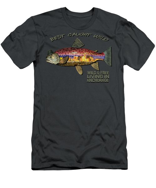 Wild And Free In Anchorage-trout With Hat Men's T-Shirt (Slim Fit) by Elaine Ossipov