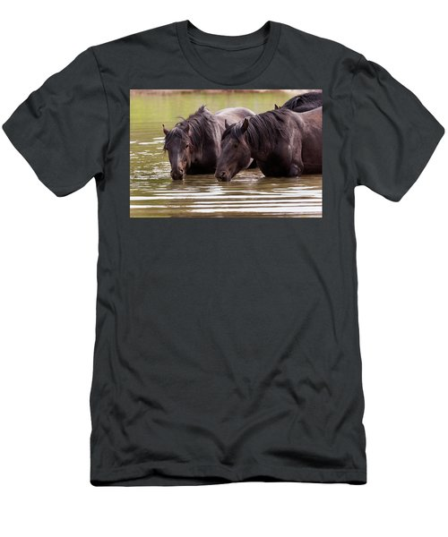 Wild Stallions At The Water Hole Men's T-Shirt (Athletic Fit)
