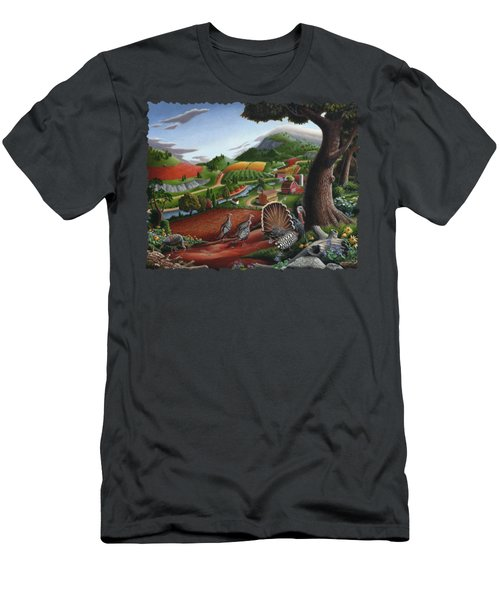 Wild Turkeys Appalachian Thanksgiving Landscape - Childhood Memories - Country Life - Americana Men's T-Shirt (Athletic Fit)