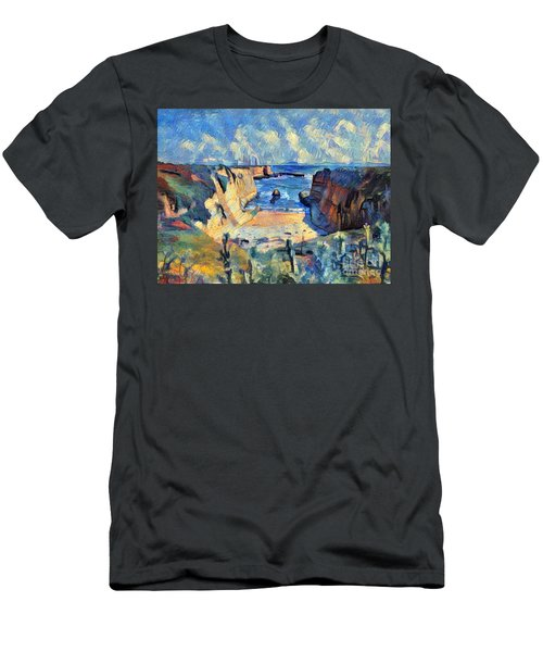 Men's T-Shirt (Slim Fit) featuring the painting Wilder Ranch Trail by Denise Deiloh