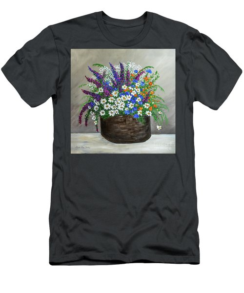 Wildflower Basket Acrylic Painting A61318 Men's T-Shirt (Athletic Fit)