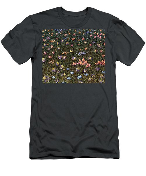 Men's T-Shirt (Slim Fit) featuring the painting Wildflowers by James W Johnson