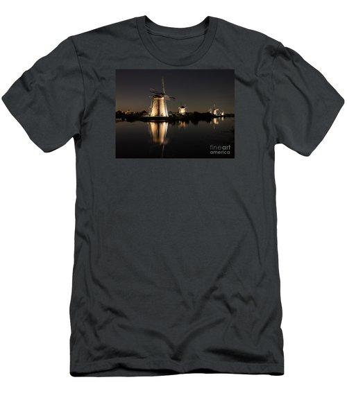 Windmills Illuminated At Night Men's T-Shirt (Slim Fit) by IPics Photography