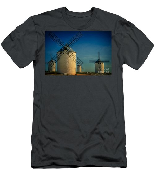 Men's T-Shirt (Slim Fit) featuring the photograph Windmills Under Blue Sky by Heiko Koehrer-Wagner