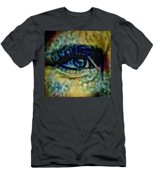 Men's T-Shirt (Slim Fit) featuring the painting Windows Into The Soul Eye Painting Closeup All Seeing Eye In Blue Pink Red Magenta Yellow Eye Of Go by MendyZ