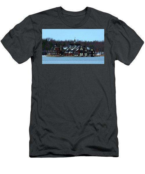Snow On Boldt Castle Yacht House Men's T-Shirt (Athletic Fit)