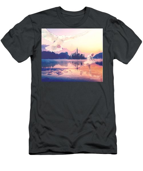 Men's T-Shirt (Athletic Fit) featuring the mixed media Wings Of Grace by Jessica Eli