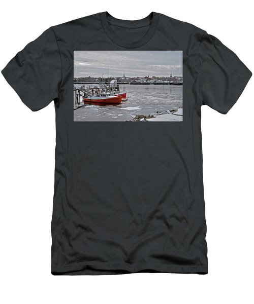 Winter At Newburyport Harbor Men's T-Shirt (Athletic Fit)