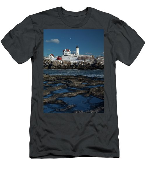 Winter At Nubble Lighthouse Men's T-Shirt (Athletic Fit)