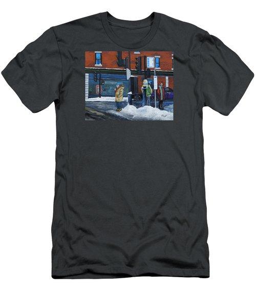 Winter Bus Stop Men's T-Shirt (Athletic Fit)