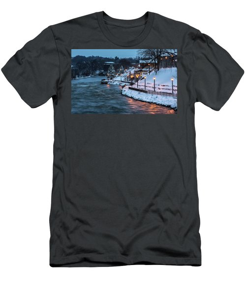 Men's T-Shirt (Slim Fit) featuring the photograph Winter Canal Walk by Everet Regal
