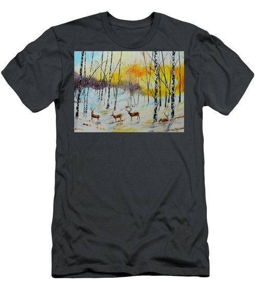 Winter Deer Men's T-Shirt (Athletic Fit)