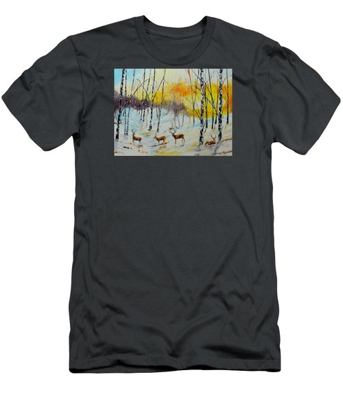 Winter Deer Men's T-Shirt (Athletic Fit)