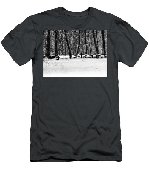 Winter Fences In Black And White  Men's T-Shirt (Athletic Fit)